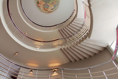 'The Stairway to Heaven', The Midland Hotel, designed by architect Oliver Hill (1933) with medallian relief mural by Eric Gill.
