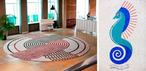 Reproduction of Marion Dorn rug and Marion Dorn mosiac at The Midland Hotel, Morecambe