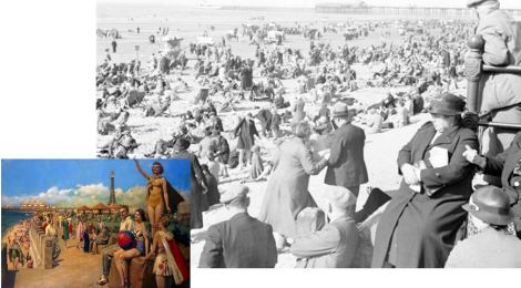 Comparison between the 1930s promotional painting of Blackpool, and an actual photograph of the beach at that time.