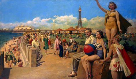 Painting of Blackpool for promotional material for Blackpool tourist board in 1930s
